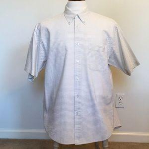 Izod Men's Seersucker Short Sleeve Shirt Sz L